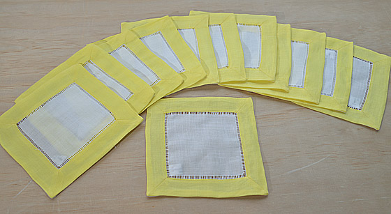 cotton napkin, napkin, cotton cocktail size napkin. hemstitch, hemstitch napkin, hemstitch cocktail napkin.