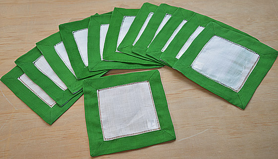 cotton napkin, napkin, cotton cocktail napkin, hemstitch napkin, hemstitch cocktail napkin.
